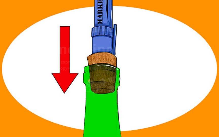 открыть вино без штопора проталкиванием картинка