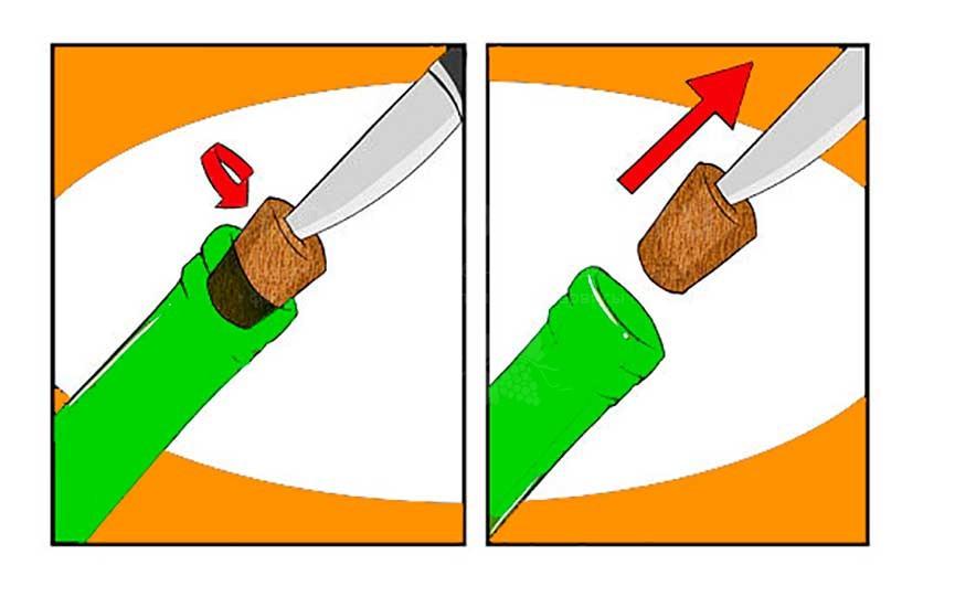 открыть вино без штопора ножом картинка